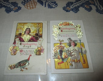 Antique Thanksgiving Post Cards, Pilgrim Couple, Matching post cards, venetian dew,confetti glitter