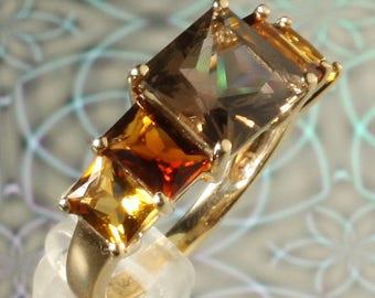 Stunning 14K Yellow Gold Citrine, Madeira Citrine & Smoky Quartz 5-Stone Ring, November Birthstone Ring