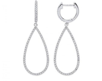 9ct White Gold 0.0.35ct Diamond Drop Earrings