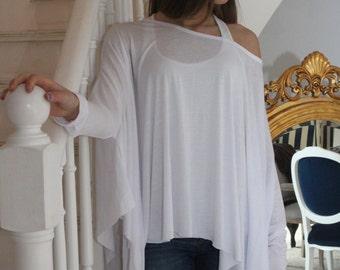 Loose Shirt / Oversized White Women Shirt  / Long sleeve Blouse / Asymmetrical Top / Long Sleeves Sirt / Asymmetric Tunic Top-0710033423041
