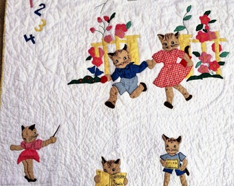 Vintage Applique Baby Quilt- Playful Kittens-Newly Complete and Very Sweet!