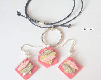 Set 2 pieces trends real leather shapes geometric tone pink leather adjustable wire birthday