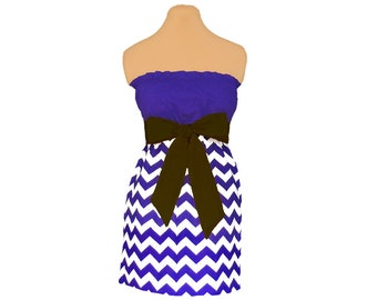 Purple + Black Chevron Game Day Dress