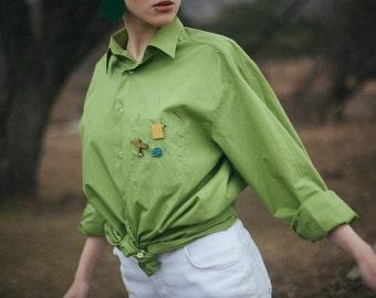 Green Oversize Shirt / Green Vintage Shirt