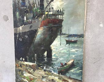 Dock Oil Painting by Listed Artist Durval Pereira 1971 (DCG2X9)