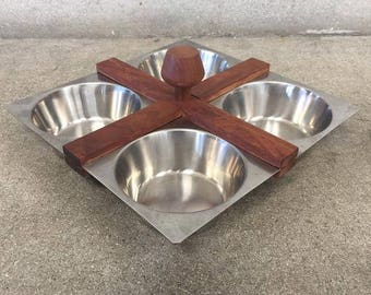 Vermillion Stainless Steel & Teak Serving Dish (1WN5XK)