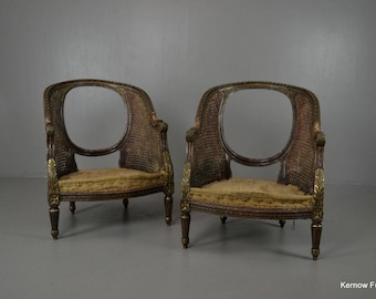 Pair Deconstructed French Louis Xvi Style Bergere Tub Chairs
