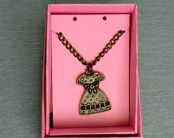 "Brass/'Old Gold' Dress Charm Necklace - 18""/46cm"