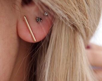 Bar earrings, minimalist line - gold 750/000 - gold plated earrings