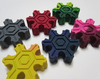 Set of 6 Snowflake Crayons