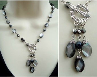 Mother of Pearl Lariat Necklace.Black Crystal.Single Strand.Toggle plated in sterling silver.Pendant Necklace.Statement Necklace. Handmade.