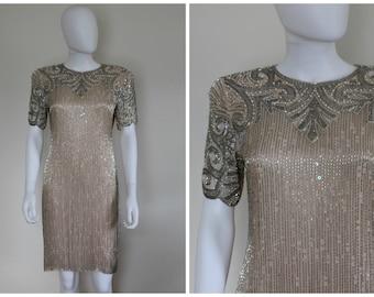 Vintage 1980s Does Roaring 20s Art Deco Bone Glamour Beaded Sequin Short Sleeve Shift Evening Dress With Keyhole Back Size Small/Medium