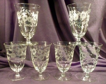 30 Piece Set Etched Crystal Stemware: Waters, Wines, Champagnes, Juice, Plates