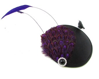 Purple Black Pheasant Feather Fascinator Hair Clip Vintage Races Headpiece 1247