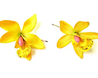 2 x Yellow Cattleya Orchid Flower Hair Grips Clips Hawaii Bobby Pins Slides 2132