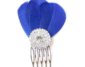 Royal Blue Feather Fascinator Hair Comb Silver Diamante Bridesmaid 1920s 2401