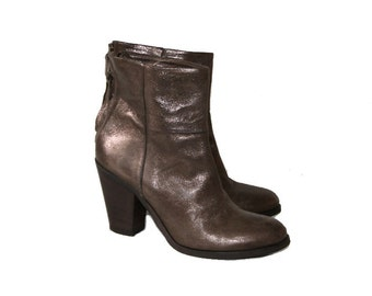 Women's Brown Leather with Glitter Ankle Boots  EUR 37 UK 4 US 6,5