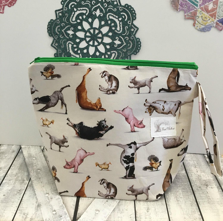 Knitting Project Bag,Animal Yoga wedge knitting bag,yarn keeper,Sock Project Bag,crochet project bag,knitting bag,Toad Hollow,Farm Animals