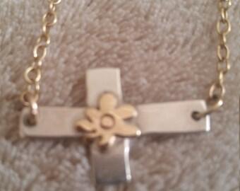 Vintage Upcycled Cross Pendant Necklace Sideways Cross