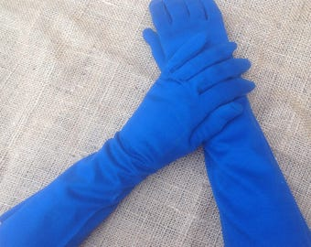 Long Columbia Blue Gloves Vintage Hand Made