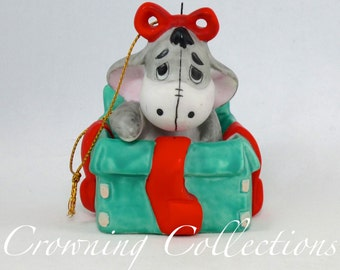 Disney Eeyore in a Christmas Present Porcelain Ornament Sri Lanka Bisque Ceramic Winnie the Pooh Donkey Figurine  Vintage