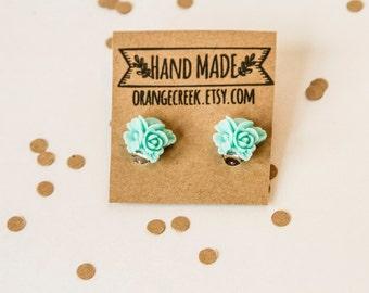 Clip on Earrings, Turquoise Flower, Flower Bouquet, Big Earrings, Flower Earrings, Flower Clip on, Large Earrings, Turquoise Rose Bouquet