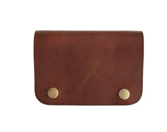 Celyfos ® Leather Half Wallet Hand made Italian leather brown