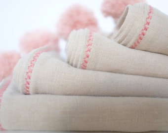 Natural Linen Baby Towel FREE SHIPPING, Hemp Baby Towel, Eco baby towel, Baby Girl Gift, Organic baby linen towel, pink, Unique baby gift