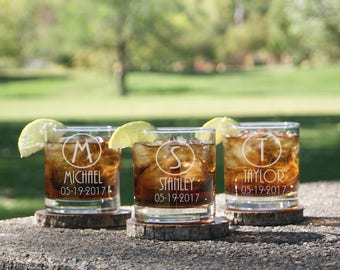 Wedding Gifts for Him, Personalized Whiskey Glasses, Gifts for Dad, Personalized Rocks Glass, Gifts for Men, Custom Whiskey Glass, Engraved