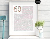 60th birthday gift for Mom / For Nana / For HER / Flower / 1957 / 60 Reasons We love you / DIGITAL Download / Unique Gift / Custom Word Art