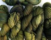 Hand Dyed Warm Forest Yarn Cormo Wool 10 Ply Aran Weight  100g x 6