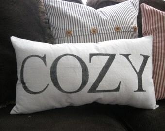 Pillow - Cozy - Lettering - Farmhouse - Farmhouse Pillow - Farmhouse Decor - Rustic - Rustic Decor - 12 x 22 inches