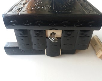 New black beautiful special handcarved,handmade wooden puzzle box,secret box,magic box,jewelry box,brain teaser,storage box,flower