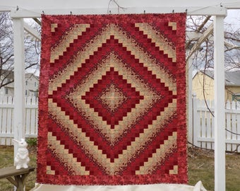 Red and Cream Trip Around the World Lap Quilt, 64 by 74