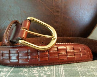 Genuine Leather Belt with Gold Buckle and Decorative Basket Weave Pattern size 36