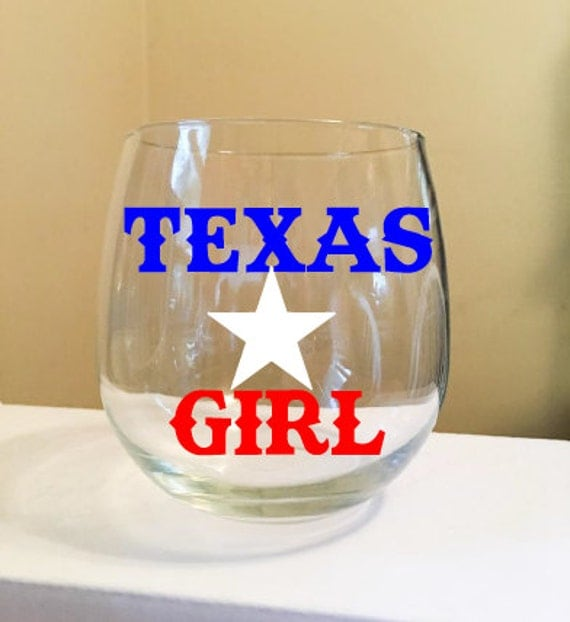 Texas Girl with star Stemless Wine Glass