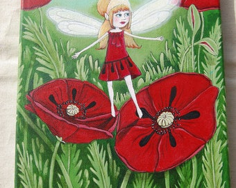 Summer Fairy, Original acrylic painting (Size: 21 x 27cm)