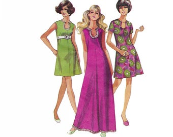 1960s womens dress pattern, Simplicity 8279, size 12, keyhole neckline, sleeveless or short sleeves, length variations, French darts, UNCUT