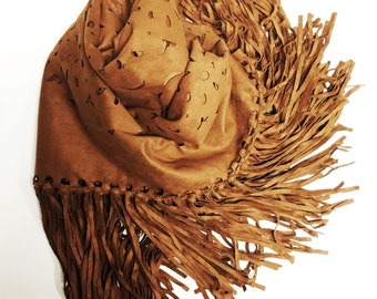 faux suede camel fringe wrap - shawl - scarf - vegan - accent - accessory