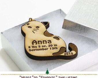 Kitten Ornament Personalized Christmas Ornament // Personalized Kitten Engraved Wood Keepsake Ornament //SKU# 348
