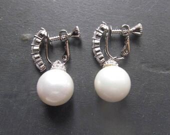 pearl earrings, pearl non pierced earrings, clipon earrings for non pierce ears, earrings for non-pierced ears, vintage style pearl wedding