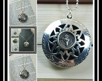 Sterling Silver Compass Locket Essential-Oil Diffusing Locket Necklace / aromatherapy necklace/ EO Necklace Diffuser/ EO Locket