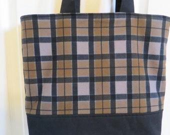 Outlander tote bag, Outlander plaid flannel and black canvas