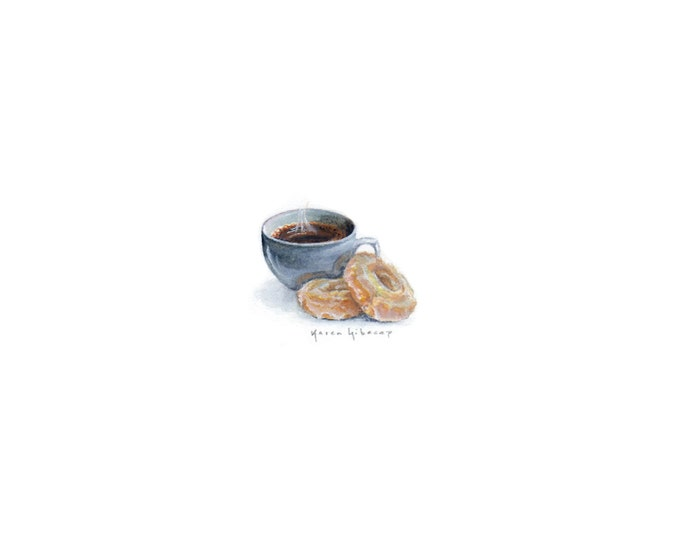 "Print of miniature painting of coffee and donuts. 1 1/4"" x 1 1/4"" print of original coffee painting on 5"" square german etching paper"