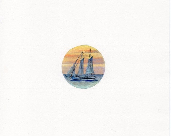 Original Miniature painting of A Tall Ship. Tiny painting, Tall Ship tiny art 5 x 5