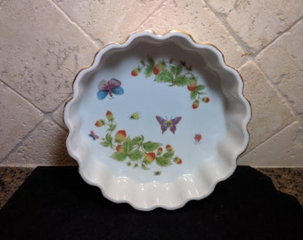 vintage Tart Dish, oven to table cookware, butterflies and berries design, dessert dish, bakers dish