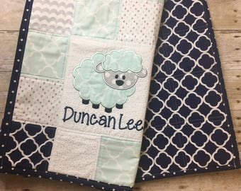 Lamb Baby Quilt, Personalized Baby Quilt, Blue and Green Baby Quilt, Baby Quilt, Keepsake Baby Quilt, Embroidered Baby Quilt, Lamb Nursery