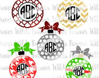 Christmas Ornament SVG Cut Files - Monogram Frames for Vinyl Cutters - Silhouette - Die Cut Machines & More