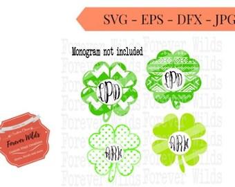 Monogram Shamrock SVG - St Patricks Day svg - INSTANT DOWNLOAD - svg - dxf -eps - monograms not included
