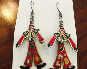 Vintage Taxco Sterling Silver Clown Earrings- Mexican Modernist Dancing Clown Earrings- Taxco Earrings- Mexican Silver Jewelry- Clown Lover